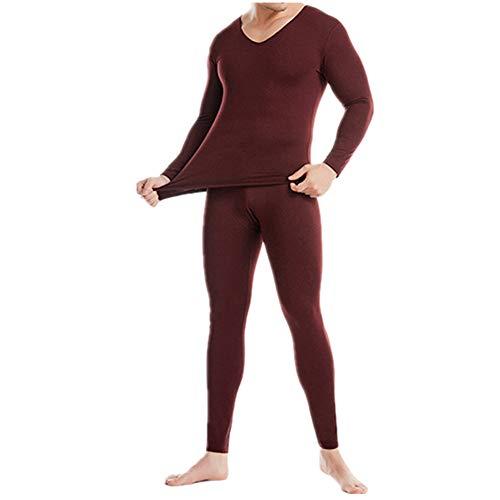 Los hombres rastros de ropa interior térmica de Felpa V-cuello de otoño ropa de otoño pantalones traje cation capa base