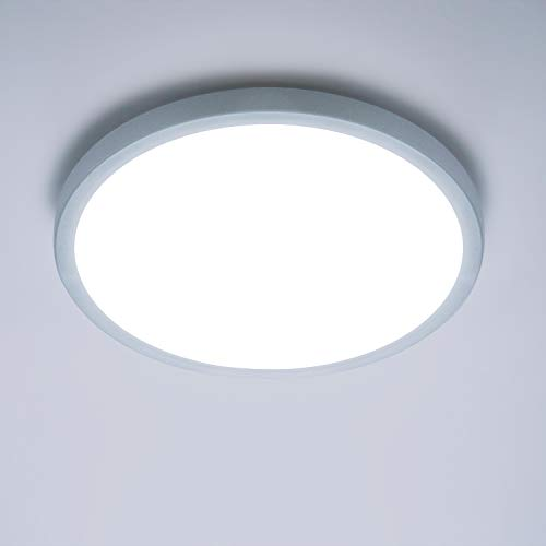 Yafido LED Deckenlampe Ultra Slim 24W 2160Lm UFO LED Panel 6500K Kaltweiß LED Deckenleuchte für Wohnzimmer Schlafzimmer Flur Büro Küche Küche Balkon und Esszimmer Nicht-dimmbar Ø23cm