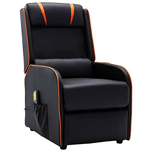 Festnjght Sillón Reclinable Tela Negro y Naranja, Sillón Relax con Reposapiés, Sistema de Apertura Push, Compacto, Butaca Salón Reclinable