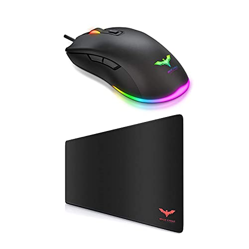 Havit Large Gaming Mouse Pad and RGB Gaming Mouse, Extended Ergonomic for Computers Thick Keyboard Mouse Mat, Wired PC Gaming Mice with 7 Color Backlight, 6 Buttons, Up to 6400 D P I Computer USB Mous