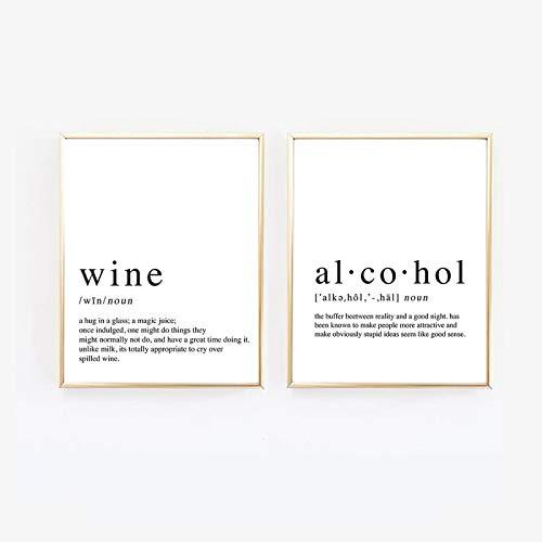 Divertido lienzo pintura alcohol y vino carteles impresos dormitorio negro blanco pared arte cocina decoración hogar 2 piezas 40 x 50 cm sin marco