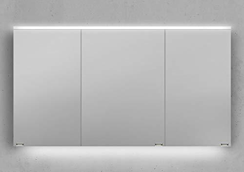 Intarbad ~ Spiegelschrank 130 cm integrierte LED Beleuchtung doppelt verspiegelt Weiß Hochglanz Lack IB5326