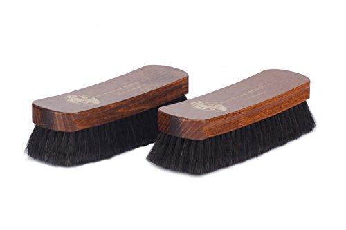 Langer & Messmer 2er-Set Schuhbürsten aus Rosshaar zum Polieren Ihrer Schuhe - Die Polierbürste für die professionelle Schuhpflege (dunkel/dunkel)