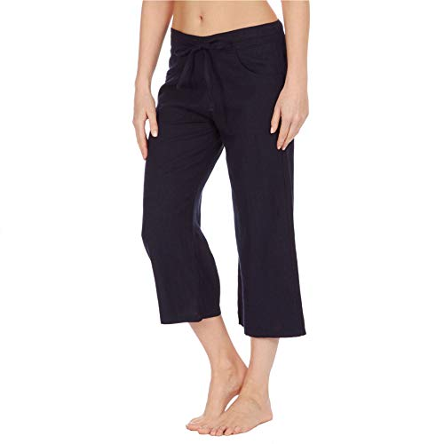 Style It Up Pantalones 3/4 de lino para mujer, para verano, casual, vacaciones, playa, chino, cargo, para mujer Azul azul marino 38