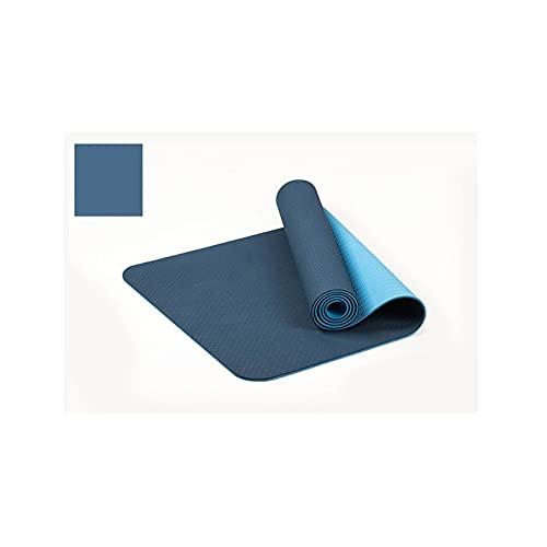 183 * 61cm 6mm de Espesor de Doble Color Antideslizante TPE Yoga Mat de Calidad Ejercicio Deporte Mat para Estiramiento Principiante Gimnasio Gimnasio Hogar Sin Sabor Almohadilla (Color : Blue)