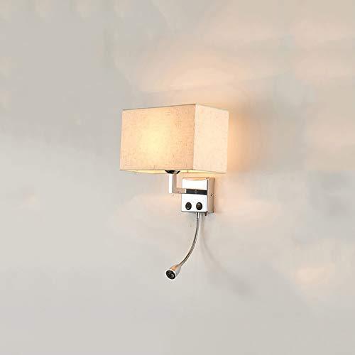 E27 Einfache Wandleuchte, Modren Wandleuchten Bett Tuch Wandleuchte Für Wohnzimmer Hotel- Weißer Reis