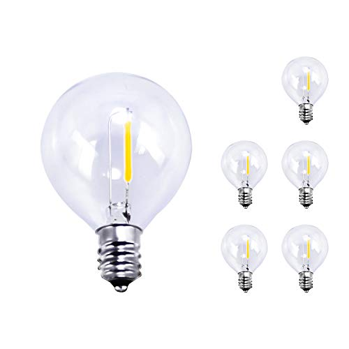 BRIMAX LED E12 Edison Screw Globe G40 Bulbs,1W = 10W,2200k Warm White,100LM,Non-dimmable,Replacement Bulb for G40 Outdoor String Lights,Clear Glass Bulbs for Indoor Outdoor Use 6 Pack