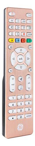 GE Backlit Universal Remote Control for Samsung, Vizio, LG, Sony, Sharp, Roku, Apple TV, TCL, Panasonic, Smart TV, Streaming Players, Blu-Ray, DVD, Simple Setup, 4-Device, Rose, 48846