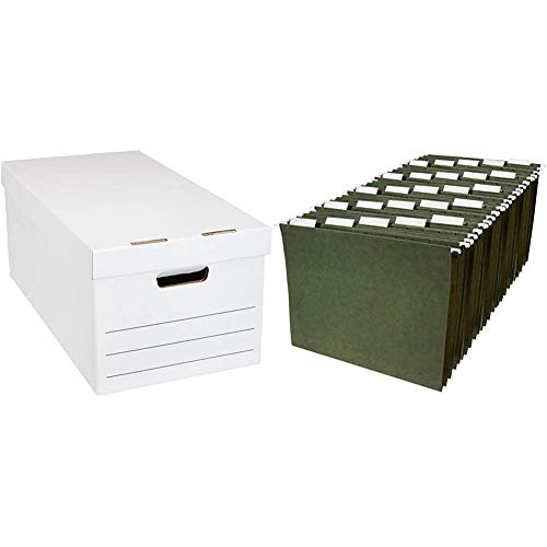 Amazon Basics Medium Duty Storage Filing Box with Lid - Pack of 12, Letter / Legal Size & Hanging Organizer File Folders - Letter Size, Green - Pack of 25