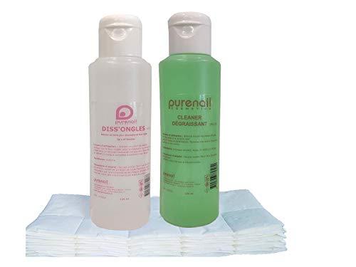 KIT SOLVANT Purenail avec 1 Cleaner Dégraissant 125 ml + 1 Diss'Ongle acétone 125 ml + 100 carrés de cellulose pour Gel UV, vernis et Faux Ongles, livraison PRIME gratuite en France