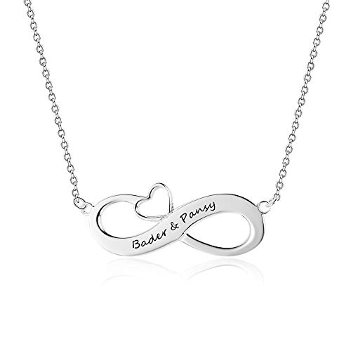 Bo&Pao Infinity Namenskette 925 Sterling Silber mit Gravur, Individuelle Unendlichkeit Halskette mit Gravur