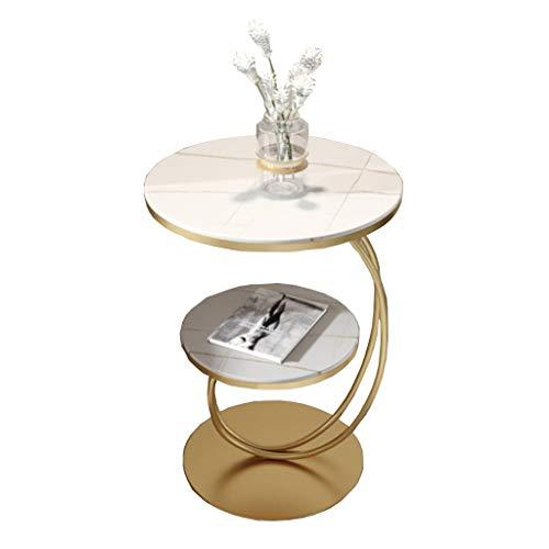 LIYIN-Wall Clock 2 Tier Creative Round Beistelltisch Wohnzimmer Couchtisch Sinter Steinplatte Sofa Beistelltisch Schlafzimmer Nachttisch