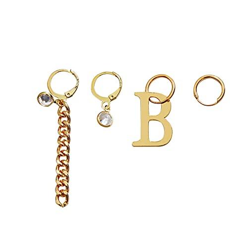 RTUQ Juego de 4 pendientes del alfabeto dorados, joyas para mujer con cobre y circonita, pendientes dorados, con letra inicial y colgante, para San Valentín, regalo de cumpleaños,