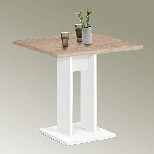 deine-tante-emma 668-001 BANDOL 1 Weiß/Eiche Sägerau Sonoma Tisch Esszimmertisch Küchentisch Beistelltisch ca. 70 x 70 cm FMD
