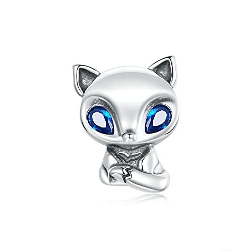 LISHOU 925 Encanto De Plata Esterlina Encantador Pequeño Zorro Cuenta Azul Cz Animal Colgante Ajuste Original Pulsera Collar DIY Joyería Que Hace Regalo