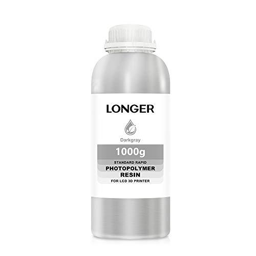 LONGER 3D Printer Resin LCD Light Curing Resin Standard Rapid Photopolymer Resin for DLP/LCD 3D Printing (Grey, 1000g)