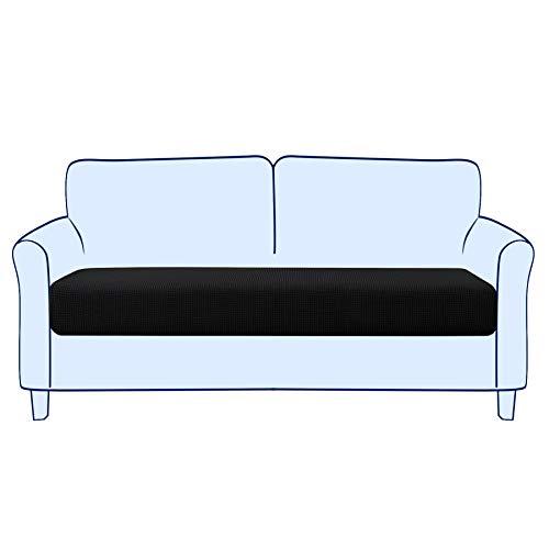 subrtex Sofa Sitzkissenbezug Stretch Sitzkissenschutz Elastischer Kissenbezüge Husse Überzug Bezug für Sofa Sitzkissen (2 Sitzer, Schwarz)
