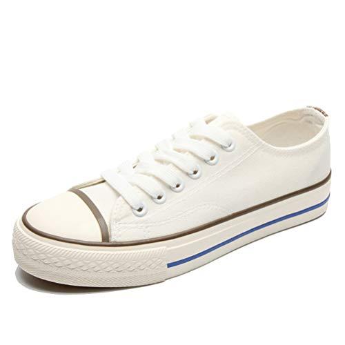 Zapatos Planos de Lona Simples y Transpirables para Mujer Antideslizantes para Exteriores Zapatillas Bajas Ligeras amortiguadoras con Cordones Antideslizantes para Estudiantes