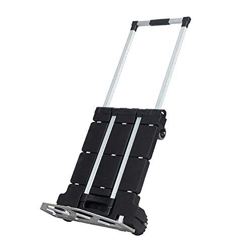 Folding Hand Truck, Foldable Hand Truck Collapsible Platform Cart with 4 Wheels Casters Trolley for Luggage, Travel, Shopping, Auto, Moving And Office Use 100Kg