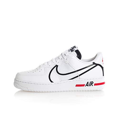 Nike Herren Air Force 1 React Basketballschuh, White/Black-University red, 46 EU
