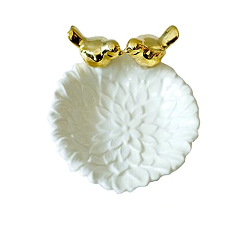 JSJJAHN Plato de Cena Bandeja Elegante cerámica Oro pájaros Flor Plato Escritorio Organizador Decorativo Pantalla Pantalla Anillo Pulseras (Color : White)
