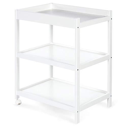 EMMA Table à langer en bois avec étagères Blanc
