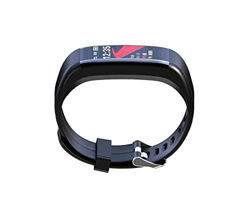 YNLRY Pulsera inteligente con frecuencia cardíaca, presión arterial, salud IP67, impermeable, reloj inteligente con Bluetooth, podómetro de fitness con USB (color: negro)