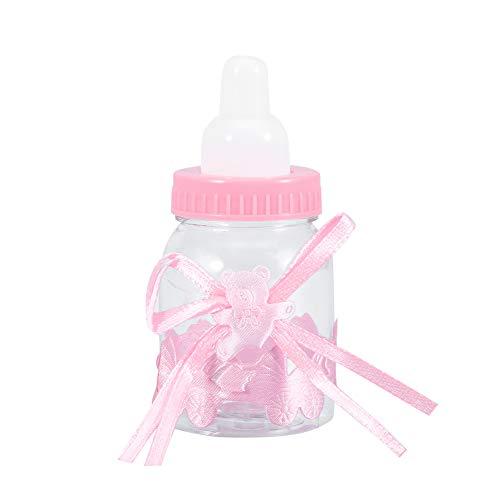 Dekaim Botellas rellenables, 24Pcs Botellas rellenables Caja de Dulces Dulces Regalo para Decoraciones de Fiesta de Baby Shower(Rosado)