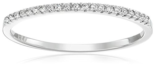 Dazzlingrock Collection 0.08 Carat (ctw) Round White Diamond Ladies Dainty Anniversary Wedding Band Stackable Ring, 10K White Gold, Size 6