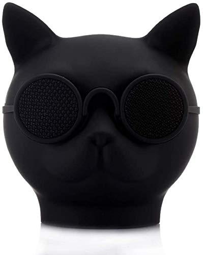 YDKJ Katzen-Kopf-drahtlose Bluetooth-Lautsprecher, Mini-Katze-Kopf Bluetooth Lautsprecher Unterstützung A2DP, AVRCP, freihändig Profil Protocol,Schwarz