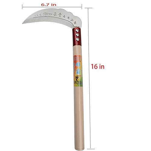 Clearing Sickle,Weeding Sickle,Manganese Steel Blade/Hardwood Handle Hand held Serrated Grass Hook Cutter - Great for Removing Unwanted Vines and Weeds. (16 in6.7 in)