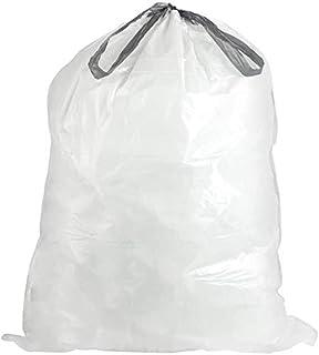 Plasticplace Custom Fit Trash Bags │ Simplehuman Code D Compatible │ 5.2 Gallon / 20 Liter White Drawstring ...