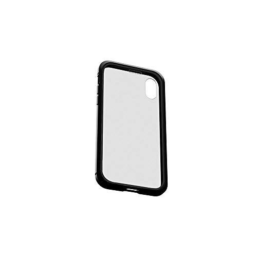 エアリア 360STRONG ガラスパネル一体型バンパー 前後ガラス 側面アルミニウム 全方位ケース マグネット式 工具不要 (iPhoneXR専用, BLACK)
