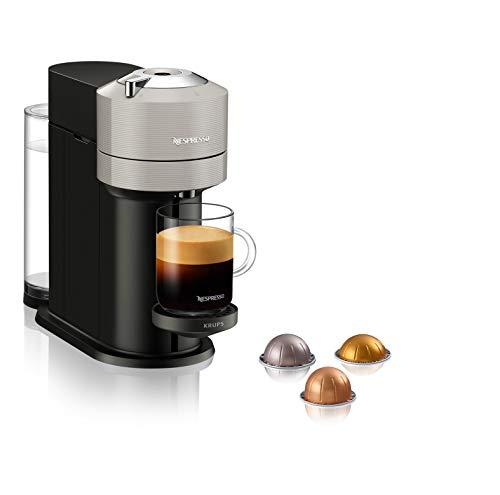 Nespresso VERTUO Next XN910B Cafetera de cápsulas, máquina de café expreso de Krups, café diferentes tamaños, 5 tamaños tazas, tecnología Centrifusion,calentamiento30 segundos, Wifi, Bluetooth, Gris