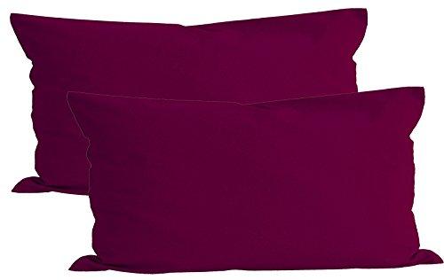 Lot de 2 housses de coussin Beties Basic - Environ 40 x 80 cm - 100 % coton, Coton, Fuchsia, 40x80 cm