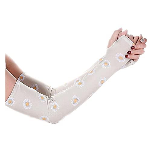 Uteruik 1 Paar UV-Schutz-Armmanschetten mit Daumenloch für Damen Sport Kühlung Sonnenschutz Armabdeckung für Radfahren Fahren Golf