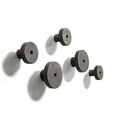 anaan Decimal Design Wandhaken Garderobenhaken Wandgarderoben aus Beton rund Industrial Style Geometrische Wanddeko (1x Schwarzgrau L Φ8,5 cm)