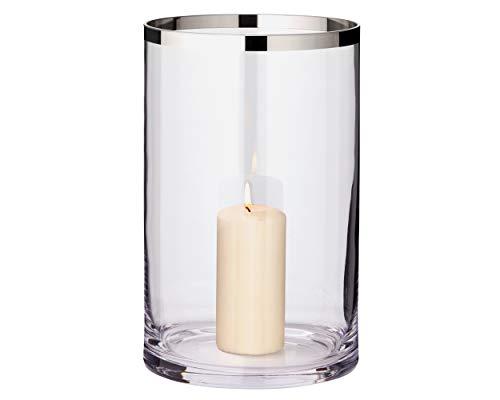 EDZARD Windlicht Molly, mundgeblasenes Kristallglas mit Platinrand, Höhe 30 cm, Durchmesser 17 cm, für Stumpenkerzen