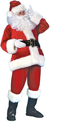 EEkiiqi Full Set Santa Suit Men's Santa Claus Outfit Adult Santa Costume Deluxe Set Christmas Outfit Cosplay Costume/Chrismas Decoration Red