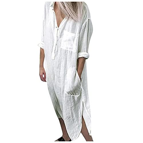 Eaylis Damen Kleid mit V-Ausschnitt einfarbiges Kleid Hemdkleid mit Schlitztasche, Boho Kleid Damen Kurze lässige Kleider Hemdkleider Roben lässige charmante Kleider Plus Size Kleid