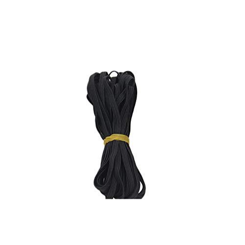 Corda elástica trançada da HealLILY para carretel elástico pesado carretel plano elástico elástico elástico para costura de artesanato 6 mm 10 m (preto)