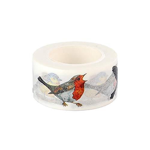 Vikenner 10 Rollen Dekorative Washi Tape Vogel Deko-Klebeband Aufkleber für Scrapbooking DIY Masking Tape Basteln Glückwunschkarten Washitapes Dekorative