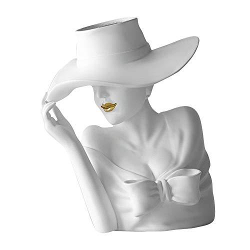 FLAMEER Harz Skulptur Vasen Dekorative ntopf Pflanzer für Home Office Schlafzimmer Büro Hochzeit Zeremonie, Desktop Center Vase Tisch Ornamente - Weiß 20x18x22cm