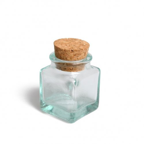 chocodic Lot de 6 Pot Mini bonbonniere en Verre - Boite à dragée - pour baptême Mariage Communion - Ballotin à dragées Design et Moderne (bonbonnière carré Bouchon liège)