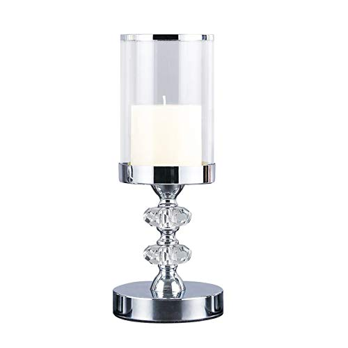 Candle Holder for Pillar Candle,Pillar Candle Holder with Lid,Crystal Candlestick Holder with Crystal Balls for Coffee Dining Table, Wedding, Christmas, Halloween, Home Decoration YL048M