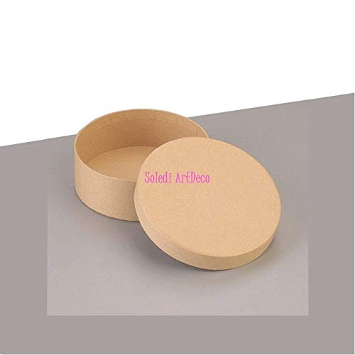 Efco kleine doos, rond, hoog, met deksel van karton, diameter 8,5 cm x hoogte 5 cm, om te versieren