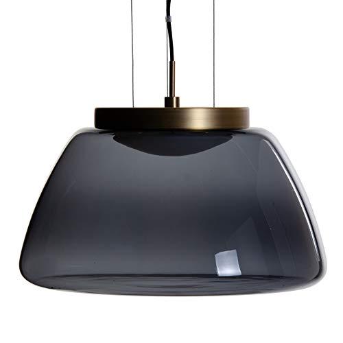 Lámpara de techo tulipa de metal y cristal negra y dorada de Ø 40x25 cm - LOLAhome
