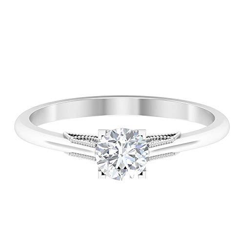 Anillo de promesa de solitario, anillo de oro macizo de 10K, anillo de compromiso de 1/2 CT, anillos apilables para mujeres, 14K Oro blanco, Moissanita, Size:EU 66