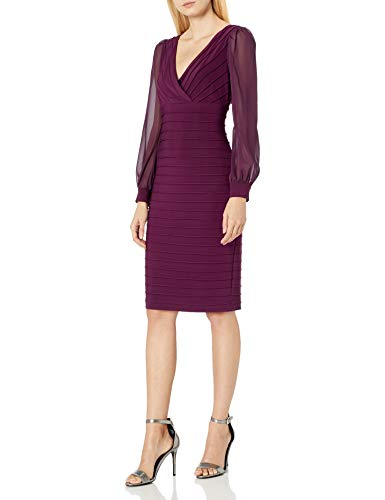 Adrianna Papell Women's Plus Size Jersey and Chiffon Sheath, Shiraz, 22W