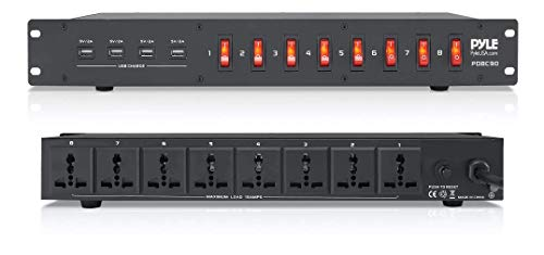 PDU Power Strip Surge Protector - 150 Joule 8 Outlet Strips Surge Protector Heavy Duty Electric Extension Cord, Rack Mount Protection Power Outlet W  8 Front Switch, 4 USB Charge Ports - Pyle PDBC90
